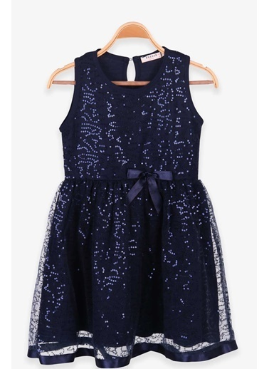 Breeze Kız Çocuk Elbise Pullu Tüllü Fiyonklu Lacivert (6-12 Yaş) Lacivert